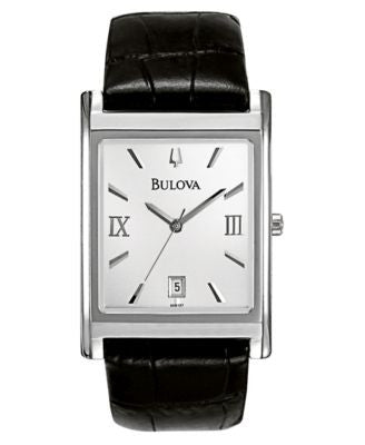 Bulova Men's Black Leather Strap Watch 45mm 96B107