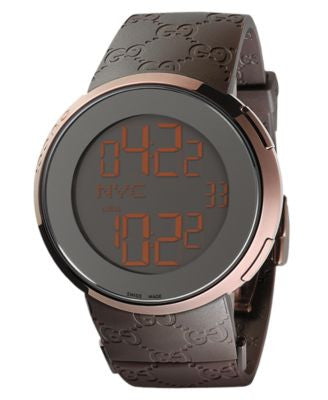 Gucci Watch, Unisex I-Gucci Collection Brown Rubber Strap 45mm YA114209