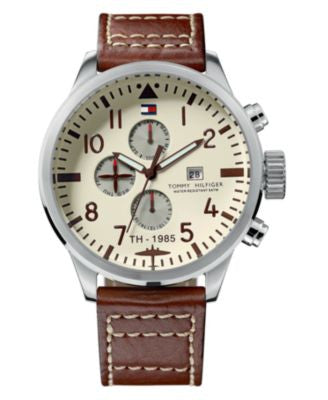 Tommy Hilfiger Watch, Men's Brown Leather Strap 1790684