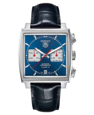 TAG Heuer Men's Swiss Automatic Chronograph Monaco Blue Croc Embossed Leather Strap Watch 39mm CAW21