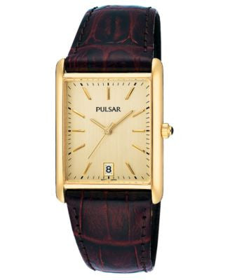 Pulsar Watch, Men's Brown Leather Strap PXDA84