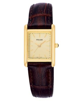Pulsar Watch, Women's Brown Leather Strap PTC386