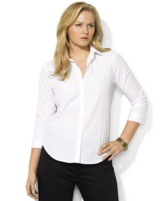 Lauren Ralph Lauren Plus Size Rolled-Sleeve Button-Front Shirt