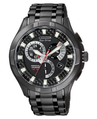 Citizen Men's Eco-Drive Black Stainless Steel Bracelet Watch 43mm BL8097-52E