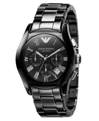 Emporio Armani Watch, Men's Chronograph Black Ceramic Bracelet AR1400