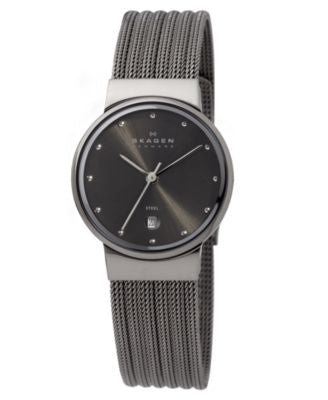 Skagen Watch, Women's Charcoal Mesh Stainless Steel Bracelet 355SMM1