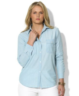 Lauren Ralph Lauren Plus Size Long-Sleeve Chambray Shirt