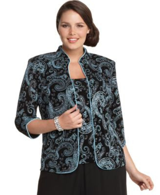 Alex Evenings Plus Size Three-Quarter-Sleeve Metallic Paisley Jacket and Shell