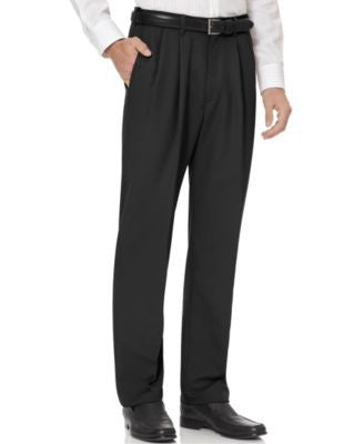 Haggar Cool 18 Microfiber Big and Tall Classic-Fit Pleated Dress Pants