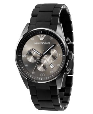 Emporio Armani Watch, Men's Chronograph Black Polyurethane-Wrapped Stainless Steel Bracelet AR5889