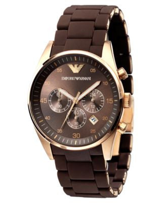 Emporio Armani Watch, Men's Brown Silicone-Wrapped Gold-Tone Stainless Steel Bracelet AR5890