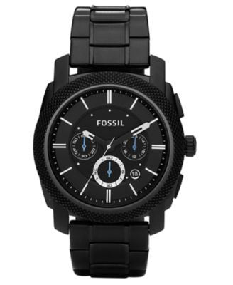 Fossil Men's Chronograph Machine Black Stainless Steel Bracelet Watch 45mm FS4552