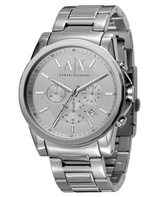 A|X Armani Exchange Watch, Men's Chronograph Stainless Steel Bracelet 45mm AX2058