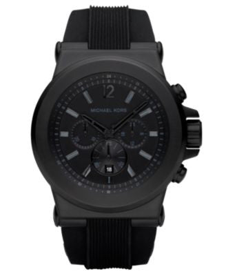 Michael Kors Men's Dylan Black Silicone Strap Watch 45mm MK8152