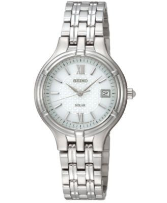 Seiko Watch, Women's Solar Stainless Steel Bracelet 28mm SUT015