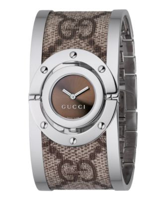 Gucci Watch, Women's Swiss Twist Stainless Steel and Canvas Bangle 23mm YA112425