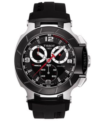 Tissot Watch, Men's Swiss Chronograph T-Race Black Rubber Strap T0484172705700
