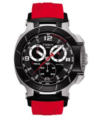 Tissot Watch, Men's Swiss Chronograph T-Race Red Rubber Strap T0484172705701
