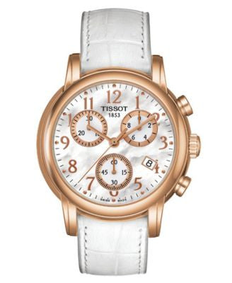 Tissot Watch, Women's Swiss Chronograph Dress Sport White Leather Strap T0502173611200