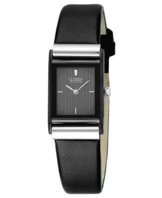 Citizen Women's Eco-Drive Black Leather Strap Watch 25mm EW9215-01