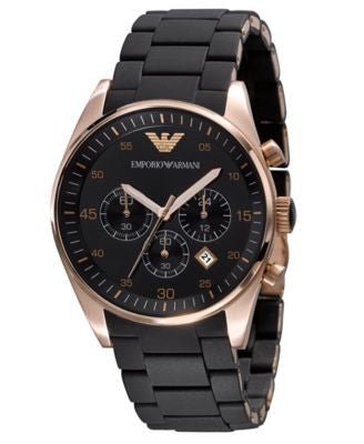 Emporio Armani Watch, Men's Chronograph Black Silicone and Stainless Steel Bracelet AR5905