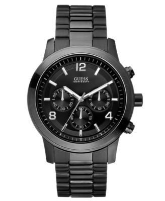 GUESS Watch, Men's Chronograph Bold Contemporary Black Ion Plated Stainless Steel Bracelet 38mm U150