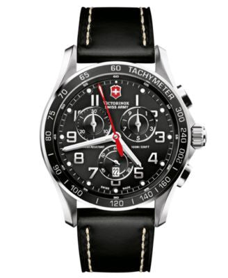 Victorinox Swiss Army Watch, Men's Chronograph Classic XLS Black Leather Strap 241444