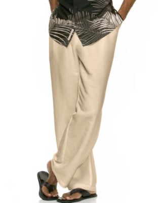 Cubavera Solid Linen-Blend 32 Drawstring Pants""