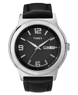 Timex Watch, Men's Black Leather Strap 40mm T2E561UM