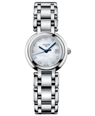 Longines Watch, Women's PrimaLuna Diamond Accent (1/3 ct. t.w.) Stainless Steel Bracelet L81104876