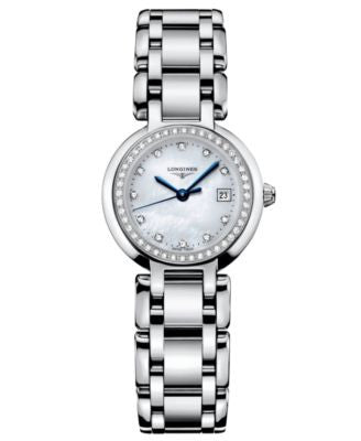 Longines Watch, Women's PrimaLuna Diamond Accent (2/3 ct. t.w.) Stainless Steel Bracelet L81100876