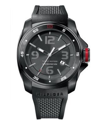 Tommy Hilfiger Watch, Men's Black Silicone Strap 1790708