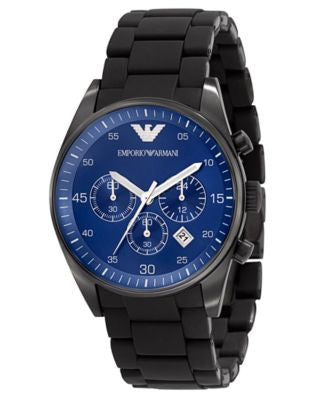 Emporio Armani Watch, Men's Chronograph Black Silicone Wrapped Stainless Steel Bracelet AR5921