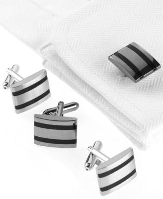 Geoffrey Beene Cufflinks, Epoxy Striped Cufflinks Boxed Set