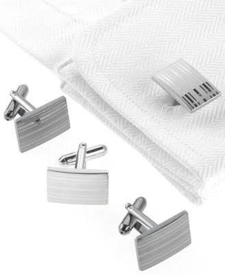 Geoffrey Beene Cufflinks, Laser Stripes Boxed Set