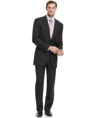 Alfani Solid Black Trio Suit with Extra Pant