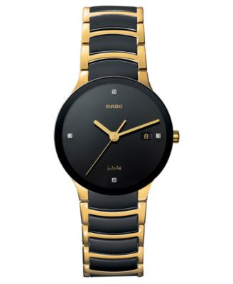 Rado Watch, Men's Centrix Jubile Diamond Dial (1/10 ct. t.w.) Black Ceramic and Gold-Tone PVD Bracel