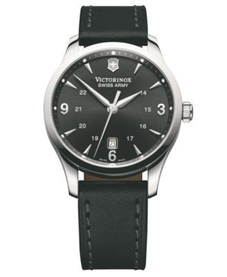 Victorinox Swiss Army Watch, Men's Alliance Black Leather Strap 241474