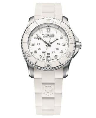 Victorinox Swiss Army Watch, Women's Maverick GS White Rubber Strap 241492