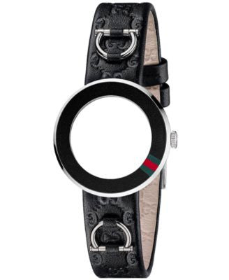 Gucci Watch Band Strap and Bezel, Women's U-Play Black Guccissima Leather 27mm YFA50027