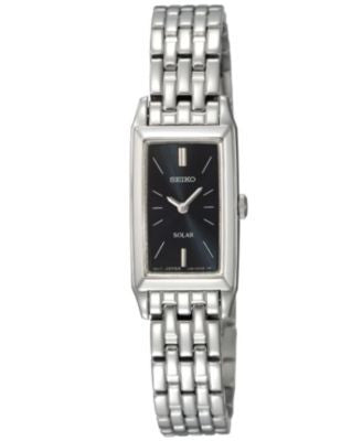 Seiko Watch, Women's Solar Stainless Steel Bracelet 15mm SUP043