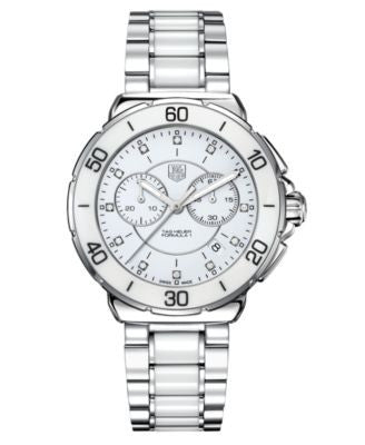 TAG Heuer Women's Chronograph Diamond (1/10 ct. t.w.) White Ceramic and Stainless Steel Bracelet Wat