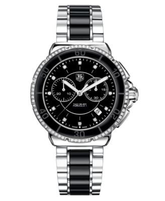TAG Heuer Women's Chronograph Diamond (1/2 ct. t.w.) Black Ceramic and Stainless Steel Bracelet Watc