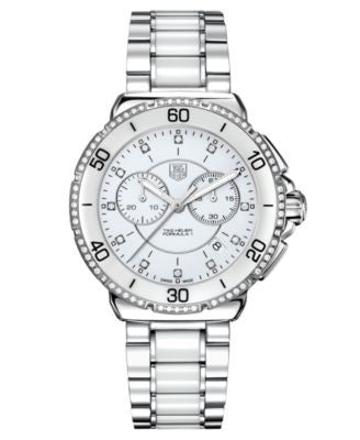 TAG Heuer Women's Chronograph Diamond (1/2 ct. t.w.) White Ceramic and Stainless Steel Bracelet Watc