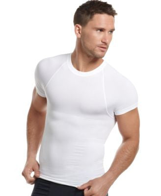 One Flat Jack Men's Underwear, Body Shaper Seamless Crew Neck T Shirt