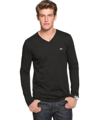 Lacoste Core V-Neck Long Sleeve Jersey T-Shirt