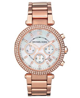 Michael Kors Women's Chronograph Parker Rose Gold-Tone Stainless Steel Bracelet Watch 39mm MK5491