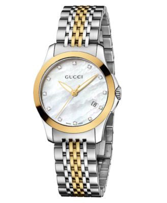 Gucci Watch, Women's Swiss G-Timeless Two Tone Diamond Accent Stainless Steel Bracelet 27mm YA126513