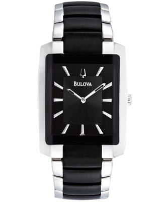 Bulova Men's Black Plated Stainless Steel Bracelet Watch 35mm 98A117
