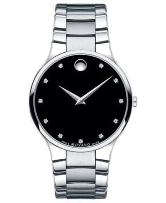 Movado Unisex Swiss Serio Diamond Accent Stainless Steel Bracelet Watch 38mm 0606490